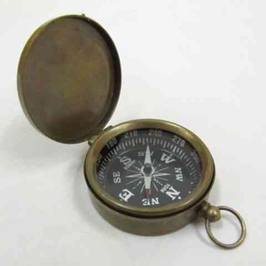 Luxury Compass - Aged Brass Explorer Pocket Compass With Lid Brand IOTC