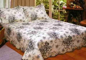 Luxury Queen Quilt - French Country Floral Quilt Set In Black by American Hometex