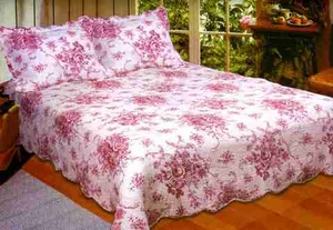 Luxury Queen Quilt - French Country Floral Quilt Set In Red Brand American Hometex