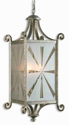 Lyon 4 Light Oval Lantern With Silver and Etched Glass Brand Uttermost