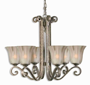 Lyon 6 Light Chandelier With Silver and Etched Glass Brand Uttermost