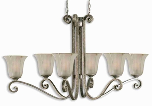 Lyon 6 Light Oval Chandelier With Silver and Etched Glass Brand Uttermost