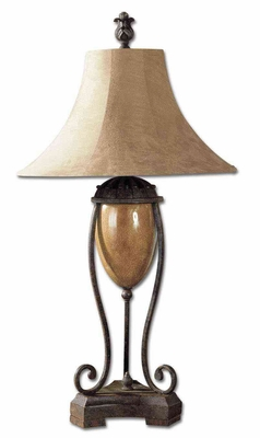 Madero Amphora Iron Table Lamp with Studded Bands Brand Uttermost