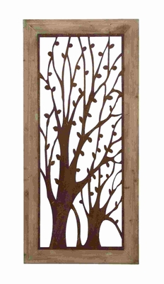 Magical Forest Style Garden Wall Plaque With Rusted Iron Trees Brand Woodland