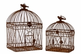 Magnificent & Elegantly Crafted Metal Bird Cage Set of Two w/ Handle Attached in Rustic Brown