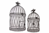 Magnificent & Elegantly Crafted Round Based Metal Bird Cage Set of Two w/ Handle