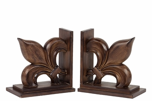 Magnificent & Finely Polished Resin Fleur de Lis Bookend in Brown