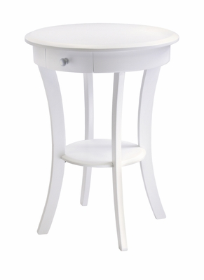 Magnificent Modish Sasha Round Accent Table, White by Winsome Woods