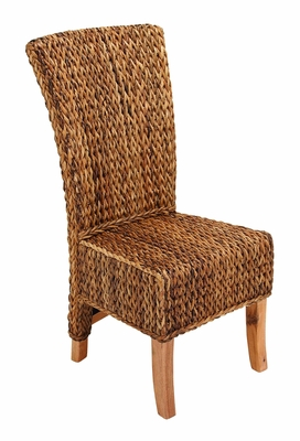 "Mahogany Abaca Leaf Chair in Brown Finish 42"" Height Brand Woodland"