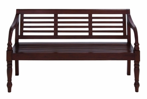 Mahogany Solid Wood Bench with Glossy Brown Texture Brand Woodland