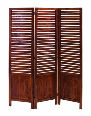 Mahogany Wood Room Divider Three Panel Screen Brand Woodland