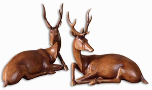 Majestic Buck Statue Sculpture Set With Light Wood Tone Finish Brand Uttermost