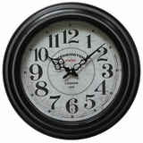 Majestic Circular Black Iron Wall Clock with glass by Yosemite Home Decor