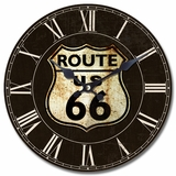 Majestic Circular Wooden Wall Clock with Route 66 Print by Yosemite Home Decor