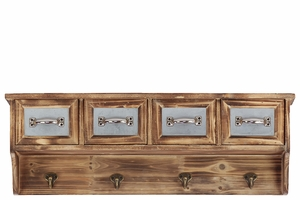 Majestic & Classic Style Wooden Handing Cabinet w/ Four Cabinets & Four Wall Hooks