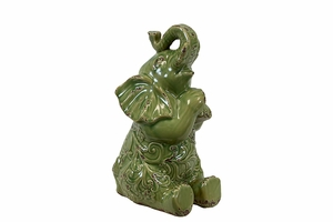 Majestic Green Patterned Ceramic Elephant