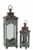 Majestic Persian Style Wooden Lantern Set of Two in Green Color