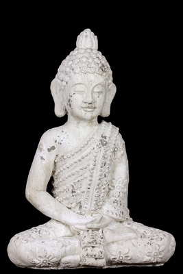 Majestic Stoneware White Attractive Sitting Buddha by Urban Trends Collection