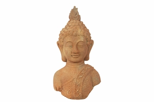 Malaysia's Spiritual Stoneware Buddha Head Rust by Urban Trends Collection