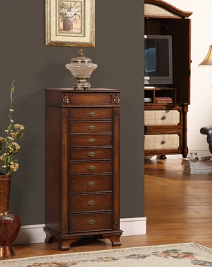 Maldives 8 Drawer Jewelry Armoire in Walnut and Oak Finish Brand Nathan