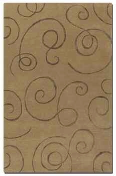 Manhattan Camel 5' Brown Wool Rug with Chocolate Scroll Motifs Brand Uttermost