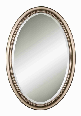 Manhattan Oval Vanity Wall Mirror with Hand Laid Silver Leaf Finish Brand Uttermost