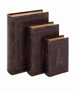 Manhattan Wood Leather Book Box Set Brand Benzara