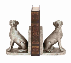 Manhattans Hoary Silvery Lovely Dog Bookend Brand Benzara