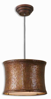 Marcel Copper Drum Pendant Lamp With Supple Metal Mesh Brand Uttermost