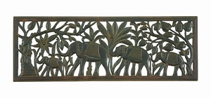 Marching Elephants Carved with Hard Wood Wall Decor Panel Brand Woodland