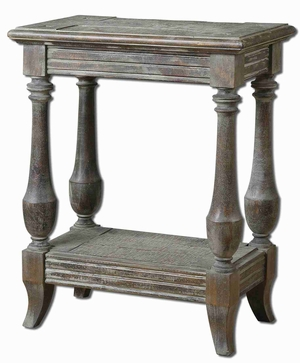 Mardonio Distressed Accent Table In Fir Wood and Limestone Finish Brand Uttermost