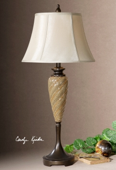 Margate Buffet Lamp With Round Bell Silken Champagne Shade Brand Uttermost