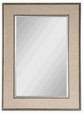 Marilla Wall Mirror with Burnished Silver Beading Frame Brand Uttermost