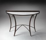"Marilyn Metal & Mirrored Demilune Console Table 44""W by Butler Specialty"