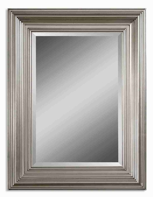 Mario Wall Mirror with Solid Wood Silver Leaf Frame Brand Uttermost