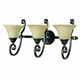 Mariposa Collection 3 Light Vanity Lighting in Light Tuscan Sand Finish with Turismo Glass by Yosemite Home Decor