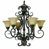 Mariposa Collection Attractive 6 Light Chandeliers in Light Tuscan Sand Finish with Turismo Glass by Yosemite Home Decor