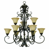 Mariposa Collection Attractive 9 Lights Chandelier in Tuscan Sand Finish with Turismo Glass by Yosemite Home Decor