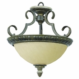 Mariposa Lighting Collection 2 Lights Semi -Flush Mount in Light Tuscan Sand Finish with Turismo Glass by Yosemite Home Decor
