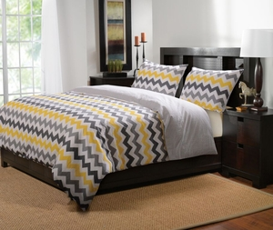 Marquis Collection Vida Yellow/Gray Color King Duvet Cover Set, 3-Pc by Greenland Home Fashions