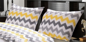 Marquis Collection Vida Yellow/Gray Color King Duvet Sham by Greenland Home Fashions