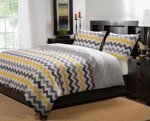 Marquis Collection Vida Yellow/Gray Color Queen Duvet Cover Set, 3-Pc by Greenland Home Fashions