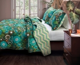 Marquis Tiki Hut Queen Sized Quilt Set in Multi-color
