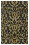 """Marseille 16"""" Dark Charcoal Wool Rug with Gold Damask Pattern Brand Uttermost"""