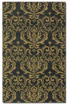 "Marseille 16"" Dark Charcoal Wool Rug with Gold Damask Pattern Brand Uttermost"