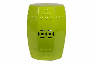 Marseille Attractive Glossy Ceramic Stool Green by Urban Trends Collection