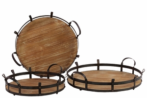 Marseille Classy Wooden Metal Tray Set Of Three by Urban Trends Collection
