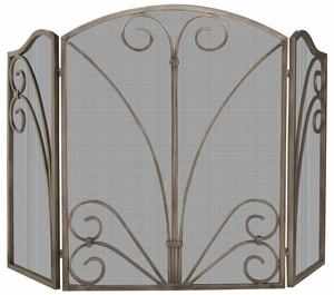 Marvelous 3 Fold Venetian Bronze Screen with Decorative Scrollwork