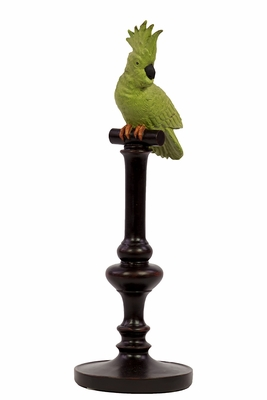 Marvelous Looking Resin Green Parrot on Stand