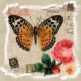Marvelous Painting of Butterfly and Rose I by Yosemite Home Decor